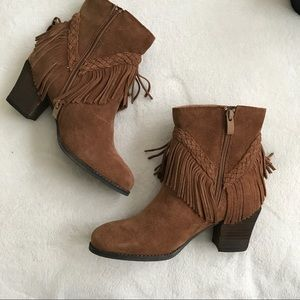 6f0404894 Sbicca Shoes | Patience Tan Suede Fringe Bootie Nib | Poshmark